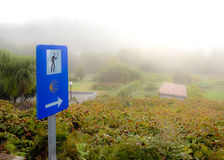 Way sign on a misty day in Galicia, Spain Royalty Free Stock Photography