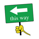This way signboard with hand color vector Royalty Free Stock Photo