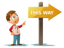 This way signpost. Man looking at a signpost saying this way. Cartoon styled vector illustration. Elements is grouped and divided into layers for easy edit. No Stock Photos