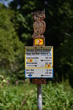 Way Signs. In the Wutach Gorge, Schwarzwald (Black Forest), South-Germany Royalty Free Stock Images