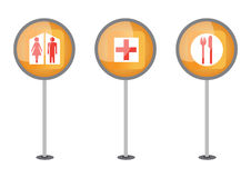 Way signs - vector. Way signs of toilet, hospital and restaurant, vector Royalty Free Stock Photography