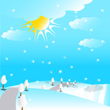 Way in snowy hills illustration Stock Photo
