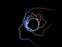 Way of Soul Geometry. Geometry of Soul series. Abstract arrangement of profile lines of human head suitable as background for projects on education, science Stock Photos