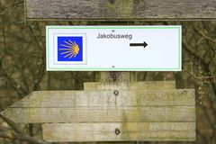 Way of St. James. Signpost Way of St. James Royalty Free Stock Photography