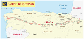 Way of St. James map. Camino de Santiago stock illustration