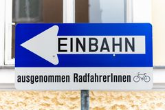 Way street, road sign with additional Royalty Free Stock Images