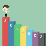 Way of success. Businessman at the top podium of success on blue background Stock Images