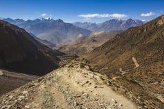 Way through Thorong la Pass, Himalaya mountains. Nepal. Way through Thorong la Pass, Himalaya mountains in Nepal, Annapurna circuit trek royalty free stock photo
