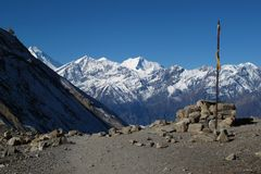 On the way from Thorung La pass to Muktinath Stock Photography