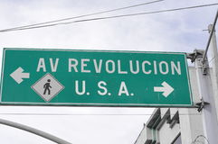 This way to America and this way Revolution Royalty Free Stock Image