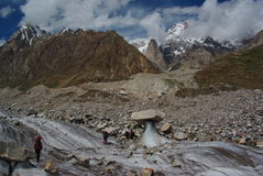 Way to baintha. Demanding way to baintha camside, crossing the biafo glacier and finding the path Stock Images