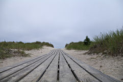 On the way to the beach. A wooden path leading to the beach. Taken in Oland, Sweden, Europe Stock Photography