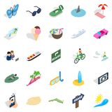 Way to the beach icons set, isometric style. Way to the beach icons set. Isometric set of 25 way to the beach vector icons for web isolated on white background Stock Photography
