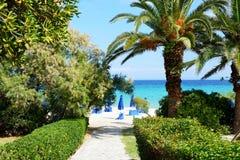 Way to the beach of luxury hotel Stock Photos