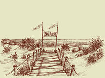 The way to the beach. Scene, sea view ahead  drawing Stock Photography