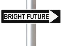 This Way To A Bright Future. A modified one way street sign indicating Bright Future Royalty Free Stock Photography