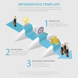 Way to business success step obstacle flat isometric infographic. Way to success 3 step obstacle process flat 3d isometric style thematic infographics concept Royalty Free Stock Photography