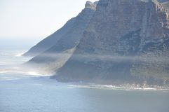 On the way to Capetown. A misty picture along the coast to capetown in South Africa stock photography