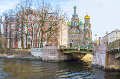 The way to the Cathedral on Spilled blood in St Petersburg Stock Images
