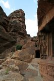 Way to Cave Temples. Rocky stairway to Cave Temples at Badami, Karnataka, India, Asia Stock Photos
