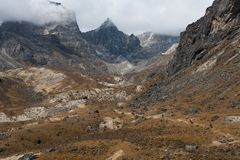 way to chola pass on everest base camp trekking route region fro stock images