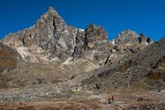 Way to chola pass on everest base camp trekking route region fro. M Dzongla village to Gokyo village,Nepal stock images