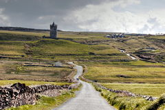 Way to Doonagore. Remote road to Doonagore castle near Doolin (co Clare, Ireland Royalty Free Stock Photos