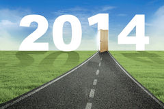 The way to the door of new year 2014. New year concept: the way to the door of new year 2014 Royalty Free Stock Photos