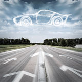 The way to a dream. The arrow points to the desired vehicle Stock Photo