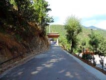 Way to Drubthob Goemba Nunnery, Thimphu, Bhutan. Drubthob Goemba monastery also called Zilukha nunnery is located in Thimphu. Zilukha is among the few modern stock photography