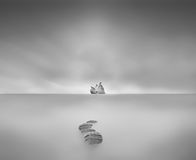 way to eternal peace in waterscape pigeon sitting on big rock lo Royalty Free Stock Photos