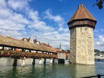 Way to Famous Tower in the Water Walking Tour, Lucerne, Luzern stock photos