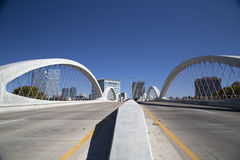 Way to Fort Worth TX. West 7th street bridge, way to downtown Fort Worth TX, USA stock images
