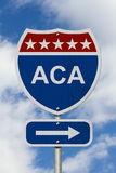 Way to get the Affordable Care Act Road Sign Stock Image