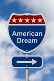 This way to get the American Dream Road Sign Stock Images