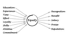 Diagram of equity. Way to get and benefits of  equity Royalty Free Illustration