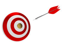 On the way to the goal. Darts arrow flying to the golden center of target Royalty Free Stock Photo