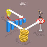 A way to the goal isometric flat vector illustration. A businessman has reached this goal after making all the steps which are needed for this. Idea, strategy Royalty Free Stock Images