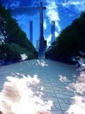 Way to God. A conceptual image of a passage in the clouds leading to God Royalty Free Stock Images