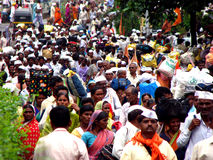 Way to God. Thousands of hindu pilgrims (Warkari's) migrate through the city of Pune - India, to the famous pilgrimmage festival royalty free stock photos