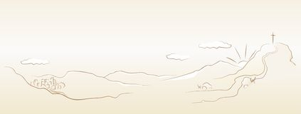 The way to Golgotha cross. The panoramic illustration of Golgotha and town, vector Stock Photo