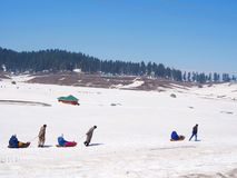 A Way to Gulmarg Snow Field, Kashmir India in the Winnter,Kashmi. A Way to Gulmarg Snow Field, Kashmir India in the Winnter Time, Kashmir, India - April 16th stock photos