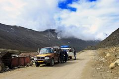 On the way to Gurudongmar Lake, North Sikkim. Royalty Free Stock Image