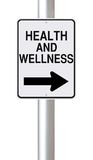 This Way to Health and Wellness. A modified one way street sign on Health and Wellness Royalty Free Stock Image