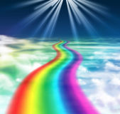Way to heaven. Rainbow way in cloudy sky is created in photoshop, the theme is god is calling us, and he is created the way for us