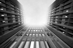 Way to heaven. Unusual perspective (looking up, next to a tall building), with computer generated background (shining cloudy fog). A super wide angle lens was Stock Photos