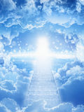 Way to heaven. Beautiful religious background - stairs to heaven, bright light from heaven, stairway leading up to skies, bright light from heaven door royalty free stock photos