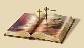 The only way to heaven. Book of life. Via Dolorosa. Biblical story illustration. Computer graphics Royalty Free Stock Photo