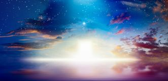 Way to heaven, bright light from heaven door stock image
