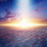 Way to heaven and eternal life, bright light from skies. Amazing idyllic background - way to heaven and eternal life, bright light from skies, glowing horizon stock photo